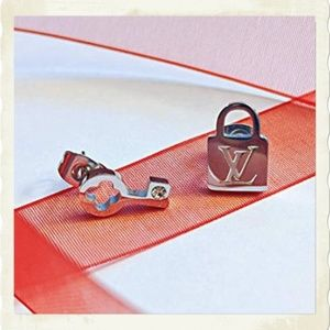 LOUIS VUITTON SILVER LOCK AND KEY EARRINGS